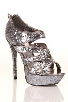 EEEE!!!!!  Bebe Rage Shoes In Pewter Glitter - Beyond the Rack
