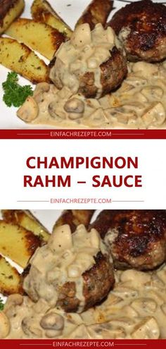 Champignon – Rahm – Sauce 😘 😍 😍 😍 - New Site Schnitzel Recipes, Mushroom Cream Sauces, Mushroom Recipes, Brown Gravy Recipe, My Favorite Food, Favorite Recipes, Swedish Meatball Recipes, Shellfish Recipes, Seafood