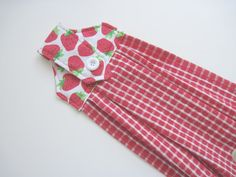 Hanging kitchen towel button top Red by KellettKreations on Etsy