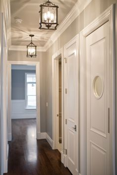 Hallway Lights.  Like the grey with white trims too