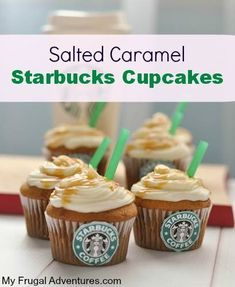 Salted Caramel Starbucks Cupcakes Recipe- so easy and very fun for parties! This recipe makes amazing cupcakes! Starbucks Cupcakes, Mini Desserts, Just Desserts, Delicious Desserts, Dessert Recipes, Yummy Food, Plated Desserts, French Desserts, Cupcake Recipes Easy