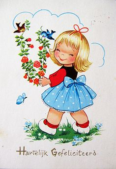 Vintage Dutch 'Warm Congratulations' postcard
