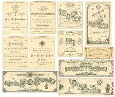 Vintage 'lables' and invites etc which would work really well in scrapbooking. Book Spine, Japanese Aesthetic, Aesthetic Design, Crystal Wedding, Journal Cards, Collage Sheet, Clean Up, Ephemera, Wedding Inspiration