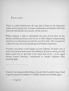 """Facades"" by Lang Leav. Made me cry & smile. Poetry Quotes, Words Quotes, Me Quotes, Sayings, Qoutes, The Words, Pretty Words, Beautiful Words, Beautiful Poetry"