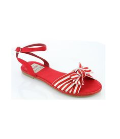 RED and WHITE Stripe Sandals #4thofJuly #uniquevintage  ELLIE Red Canvas Nautical Stripe Sandals