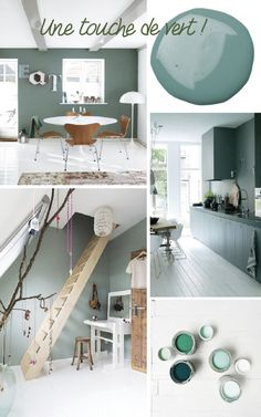 PAINT A WALL OF THE HOUSE IN GREEN. The many shades of this color bring freshness and reinvent the decor. With a touch of undeniable nature and simple to … Source by grimaudcarole Green House Design, Sweet Home, Muebles Living, Diy Casa, Diy Room Decor, Home Decor, Home Staging, Interior Design Living Room, House Colors