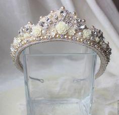 Купить Свадебная диадема-кокошник №15 - белый, кокошник, кокошник русский народный, свадебный кокошник