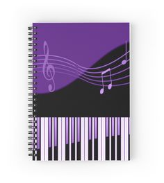 Black & Purple Musical Melody | Hardcover journals also available in ruled line, graph, or blank.