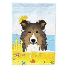 Sheltie Summer Beach Wall or Door Hanging Prints Multi Painted Garden Rocks, Painted Rocks, Beach Flags, Beach Artwork, Beach Gardens, Flag Decor, House Flags, Sheltie, Hot Pads