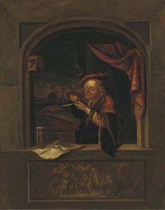 Een man in een alkoof. Jaar: ? Particulier bezit. Naar Gerard Dou: Oude man die zijn pen snijdt, ook genoemd: de oude schoolmeester. 1671