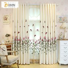 DIHIN HOME Fascinating Flower and Butterfly Embroidered Valance,Blackout Curtains Grommet Window Curtain for Living Room ,52x84-inch,1 Panel