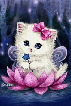 Cartoon Cat - Easy DIY Diamond Painting Kits - OwlCube - Diamond Painting by Numbers Cute Kittens, Cats And Kittens, Kitten Cartoon, Kitten Images, Image Chat, Animation, Cat Gif, I Love Cats, Cute Art