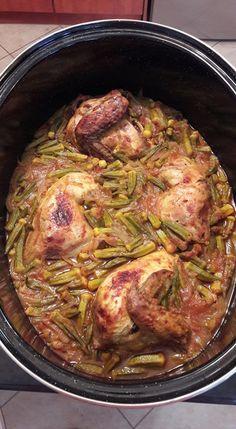 Κοτόπουλο με μπάμιες 1 μονάδα!(όχι λάδι!Το αχνίζεις με λίγο νερό) Fat Foods, Yams, Baking Recipes, Baked Food, Greek Beauty, Pork, Food And Drink, Master Chef, Diet
