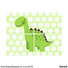 Shop Cute Green Dinosaur Canvas Print created by Personalise it with photos & text or purchase as is! Wall Art Sets, Cute Cartoon, Polka Dots, Kids Rugs, Canvas Prints, Green, Kid Friendly Rugs, Photo Canvas Prints, Cute Comics
