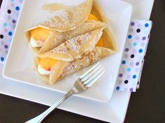 Peaches and Cream Crepes.  Tried & made crepes one year in french class & have always wanted to make them again.