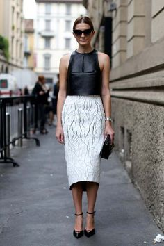 ISPIRAZIONI FASHION street style pencil skirt bianca top nero in pelle