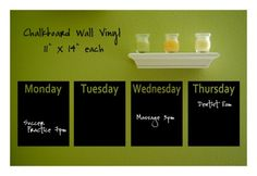I want to use something like this to put our menu for each week on. Seems like you could do the same thing with painters tape and chalkboard paint though pretty easily.