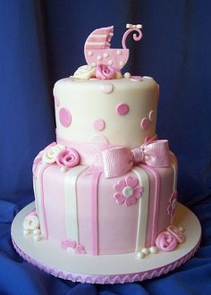 Cute cake for a baby showeruno Rosita elegante para baby shower.