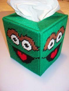 NEW Oscar the Grouch Handmade Plastic Canvas Tissue Box Cover