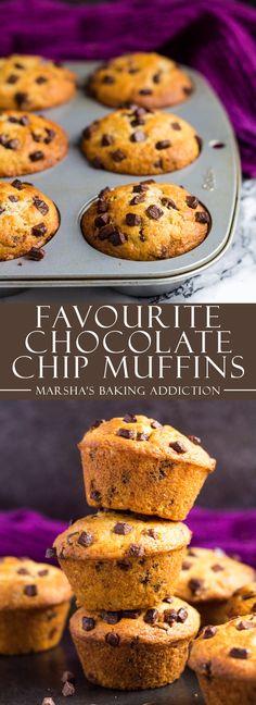 My Favourite Chocolate Chip Muffins   marshasbakingaddiction.com @marshasbakeblog