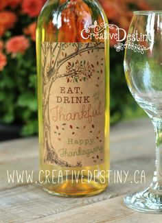Thanksgiving Wine Labels  Set 5 by ACreativeDestiny on Etsy, $5.00