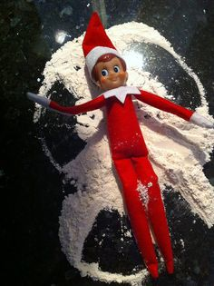 Elf on a Shelf- Let me prefice this by saying the whole idea of teaching kids to be good because the elf is watching is so misleading. However, Mikayla would get a kick out of this. Holiday Themes, Holiday Crafts, Holiday Fun, Holiday Decor, A Shelf, Elf On The Shelf, Shelves, A Christmas Story, All Things Christmas