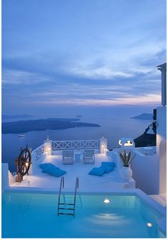 an ethereal relaxing place in Santorini, Greece.