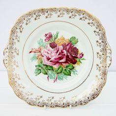 Vintage Dubarry Cake Plate Bone China Floral Roses Gold