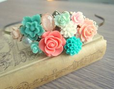 Coral Mint Green Wedding Headband Peach Turquoise Hairband Bridesmaid Gift Bridal Head Hair Piece Floral Flower Pastel Colors Soft Romantic