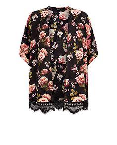 Teens Black Floral Print Lace Trim Kimono  | New Look