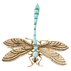 Dragonfly Pin | From a unique collection of vintage brooches at https://www.1stdibs.com/jewelry/brooches/brooches/