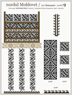 Semne Cusute: iie din nordul MOLDOVEI, Botosani Folk Embroidery, Embroidery Patterns, Quilt Patterns, Cross Stitch Designs, Cross Stitch Patterns, Knitting Charts, Embroidery Techniques, Machine Quilting, Bead Weaving