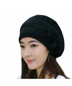 955eb2b00eb Women Crochet Winter Warm Knitting Beanie Hat Cap Beret Black CR187I20Z26