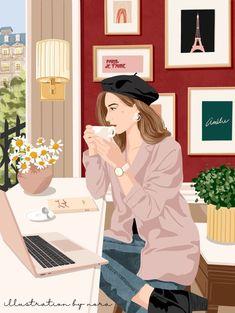 Illustration Vector, Portrait Illustration, Abstract Line Art, Cute Cartoon Wallpapers, Anime Art Girl, Cartoon Art, Cute Art, Art Drawings, Instagram