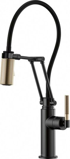 Brizo Litze Single Handle Articulating Kitchen Faucet with Knurled Handl Matte Black / Luxe Gold Faucet Kitchen Single Handle Matte Black / Luxe Gold Litze Single Handle Articulating Kitchen Faucet with Knurled Handle - Includes Lifetime Warranty New Kitchen Cabinets, Old Kitchen, Kitchen On A Budget, Kitchen Ideas, Kitchen Decor, Kitchen Colors, Kitchen Designs, Kitchen Counters, Cheap Kitchen