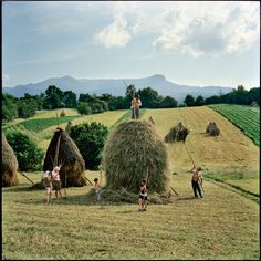 The Borca family, from the village of Breb, put finishing touches to one of the 40 or so haystacks they make each summer, Transylvania, Romania - by Rena Effendi Azerbaijani Champs, Ukraine, World Press Photo, The Farm, National Geographic Photographers, Lomography, Country Life, Photo Galleries, Albania