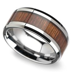 Sustainable, reworked koa wood is inlaid in this burnished tungsten band with beveled edges for a masculine look. 10mm.