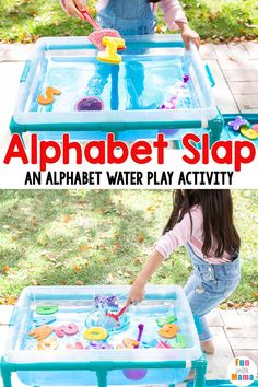 This fun water play for toddlers is a great way to have a bit of messy fun while also working on recognizing their letters and their numbers. Water Play Activities, Summer Activities For Kids, Alphabet Activities, Literacy Activities, Infant Activities, Free Activities, Preschool Ideas, Outdoor Activities, Early Learning