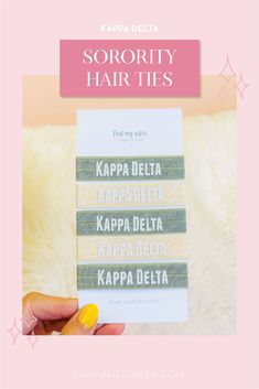 Sorority hair ties are the easiest gift for any celebration: Recruitment, Bid Day, Back to School & Big/Little. Spoil your new sorority girl with a hair tie set! Kappa Delta Gifts | Kappa Delta Bid Day | KD Hair Ties | Kappa Delta New Pledge Gift | Sorority Bid Day | Sorority Recruitment | Sorority Hair Tie Gifts | Sorority College Gift | Sorority New Member Gift Ideas #SororityGifts #SororityHairTies Kappa Delta Sorority, Delta Chi, College Sorority, Alpha Sigma Alpha, Sorority Recruitment, Sorority Gifts, Bid Day Gifts, Hair Tie Bracelet, Let Your Hair Down