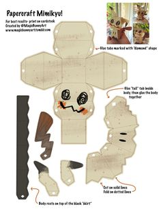Mimikyu Papercraft Template by MagicBunnyArt on DeviantArt 3d Pokemon, Pokemon Craft, Cute Crafts, Diy And Crafts, Paper Crafts, Foam Crafts, Arts And Crafts, Papercraft Pokemon, Anime Crafts