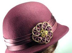 Burgundy WoolRed Hat with Zip Flower Detail