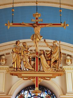 """Christ the king was raised up on the Cross for our sake: come let us adore him"" - Invitatory antiphon for the feast of the Exaltation of the Holy Cross, which is today, 14 September.  This hanging Crucifixion scene is in the church of St Mary-le-Bow in London."