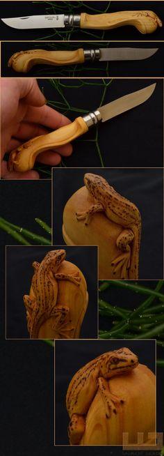 Gerdil Лоран - Скульптура - Животные Opinel № 8 самшит ручка резные pyrographed. В наличии.