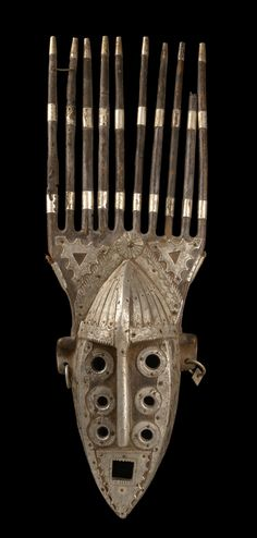 Africa | Mask from the Malinke people of Mali | Wood decorated with sheet metal