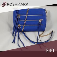JustFab social life handbag Colbalt blue color...NWT...gold hardware...strap can be removed...bottom two zippers work but are not functional JustFab Bags Crossbody Bags