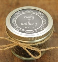 Mason jar wedding favor.  $66 for 24, $275 for 100)