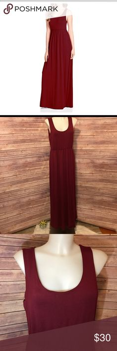 "Beachcoco Empire Waist Maxi Tank Dress, Burgundy. NWOT. This lovely burgundy light weight Maxi dress was originally supposed to be my bridesmaid dress. I have 4 of these dresses. 1 Large, 1 Medium, 2 Extra Large. 95% Rayon, 5% Spandex. Fit as expected. They look absolutely stunning on ANY body shape. They have never been worn. They are 59"" long but fit shorter girls nicely with or without heels. One of my bridesmaids is 4""11. Please see sizing chart for further measurements. (Pictured) Made…"