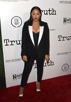 Actress Tia Mowry attends an industry screening of Sony Pictures Classics' 'Truth' at Samuel Goldwyn Theater on October 5, 2015 in Beverly Hills, California.