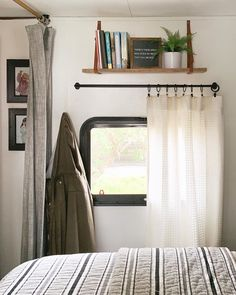 "One of our most frequently asked questions is, ""Where do you get your wood curtain rods and how do you hang them?"" The answer is, I made… rods placement T H E Caravan Curtains, Camper Curtains, Curtains For Camper, Cabin Curtains, Burlap Curtains, Curtains Living, Campervan Interior, Rv Interior, Interior Ideas"