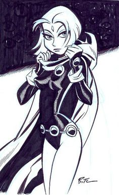 Bruce Timm's rendition of Raven from Teen Titans.  This man is a comic and art legend.  Strong use of black and white.